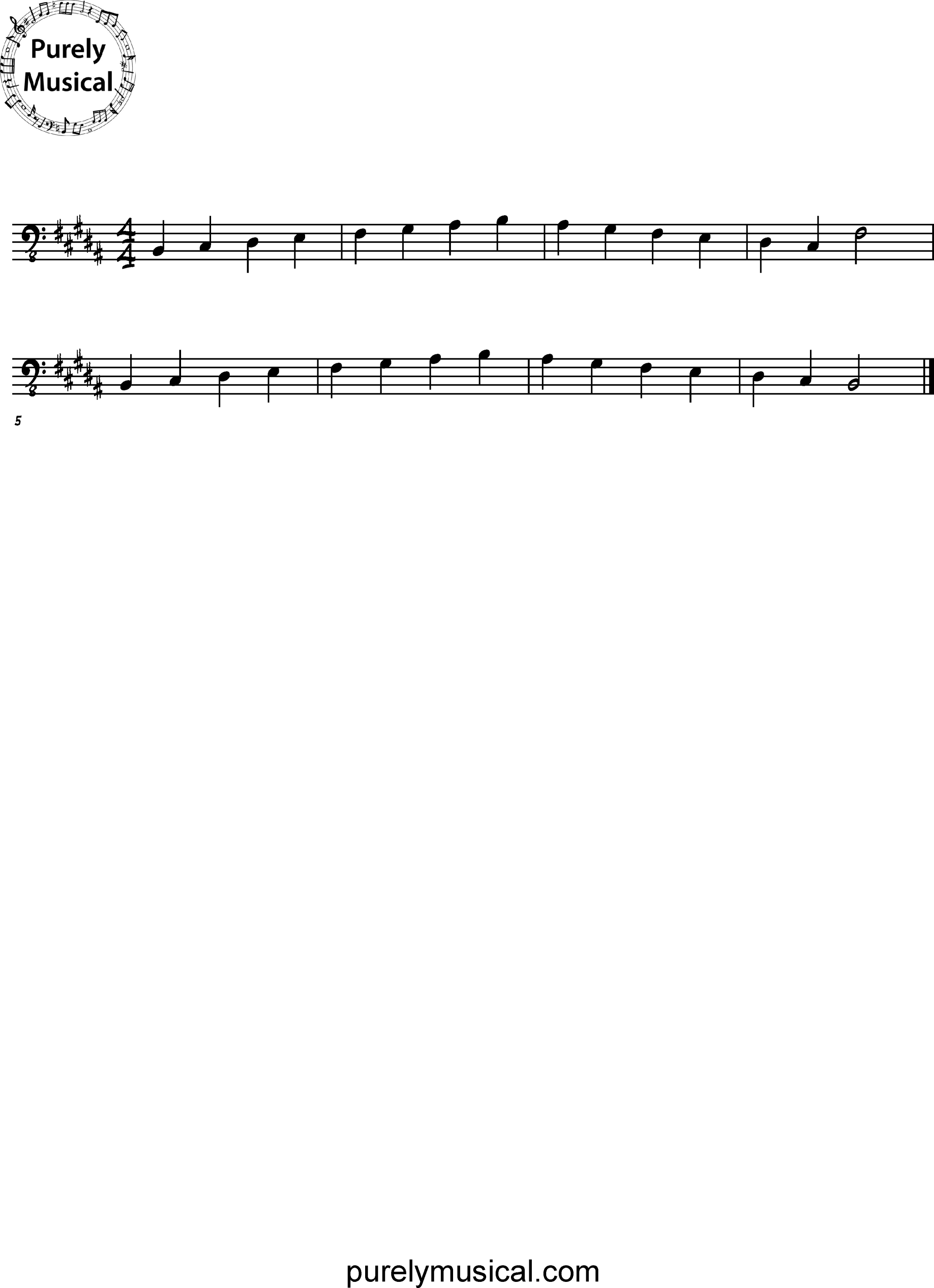 Intermediate  Scale B Major
