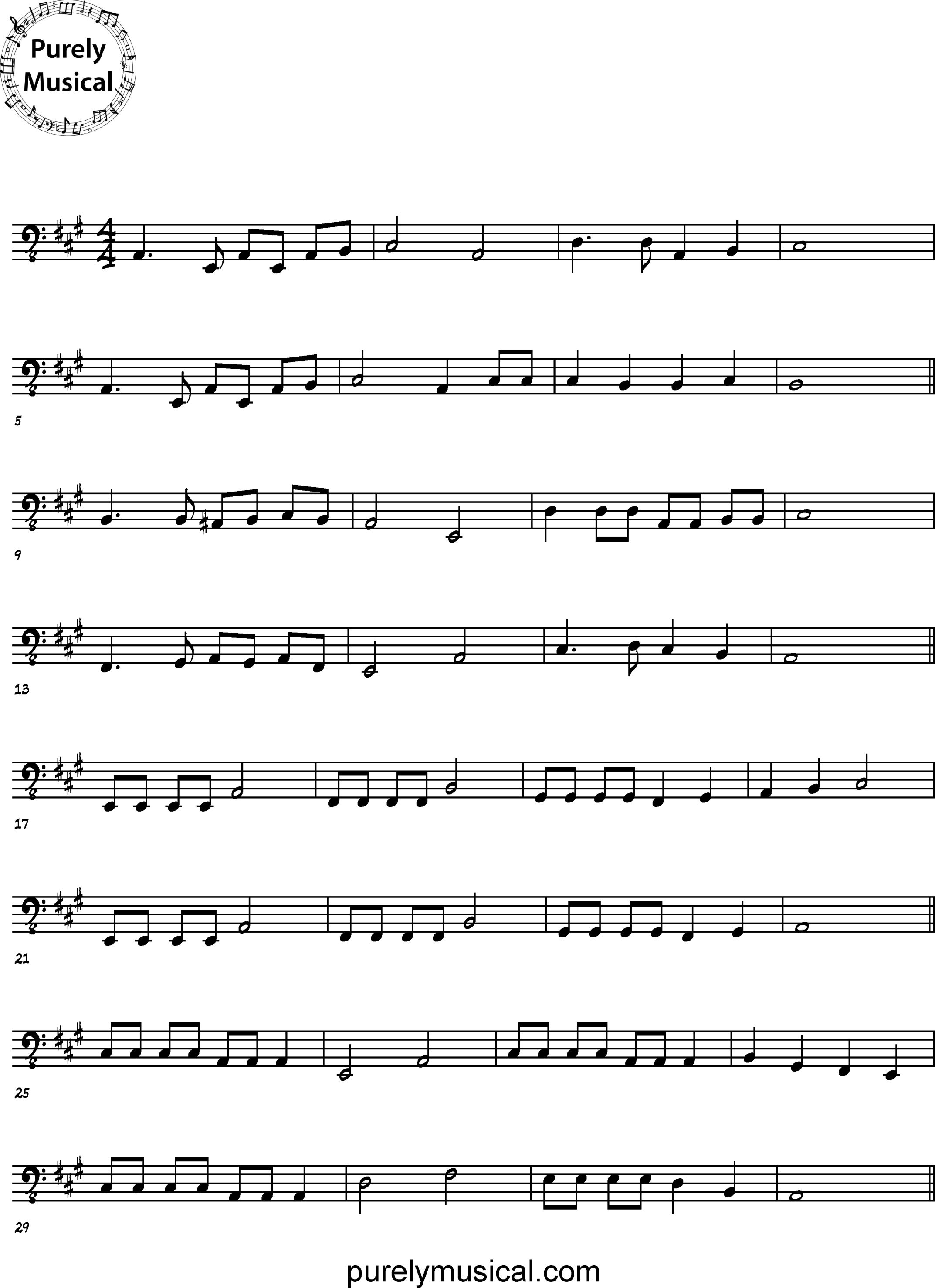 Intermediate  Melodic Execise I've Been Working On The Railroad for Double Bass