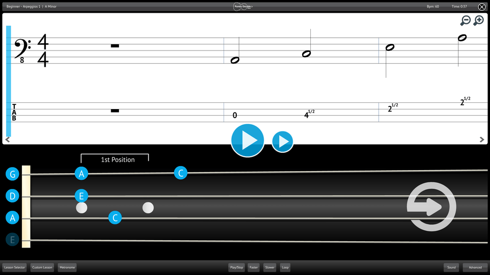 Purely Double Bass Screenshot Lesson Selector